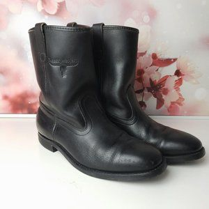 Mason Western Leather Pull On Cowboy Boots 9.5
